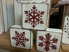 Christmas Blocks, Christmas Wood Crafts, Christmas Signs Wood, Primitive Christmas, Rustic Christmas, Christmas Projects, Winter Christmas, Holiday Crafts, Christmas Ornaments