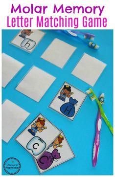 Preschool Dental Health Join our Email Group for Ideas, Freebies & Special Offers.Do you a Preschool Dental Health theme? This set is filled with fun hands on activ Letter Matching Game, Letter Games, Alphabet Activities, Preschool Activities, Space Activities, Teeth Games, Used Legos, Dental Health Month, Coconut Oil For Teeth