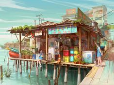 Illustration for a project base on Chew Jetty of Penang Malaysia Environment Concept, Environment Design, Illustration Fantasy, Art Illustrations, Art Environnemental, Drawn Art, Environmental Art, Anime Scenery, Amazing Art