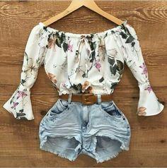 #short #jeans #cor #clara #blusa #estampada #lookdodia #amei #style #lifestyle #moda #feminina #inspirações #ideias