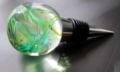 Fresh Spring Green Glass Wine Stopper by nautical2004 on Etsy, $18.00