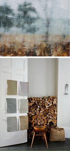 A beautiful autumn look. Villa d'Esta | interieur en wonen Color Pallets, Surface Pattern, Earth Tones, Fall Season, Mudroom, Hygge, Color Inspiration, Firewood, Sweet Home