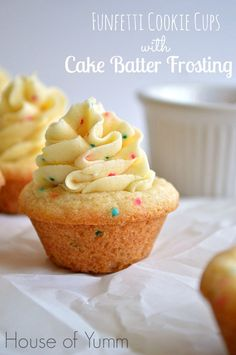 Funfetti sugar cookie cups filled with a cake batter flavored frosting.  Possibly the BEST frosting EVER ! #houseofyumm