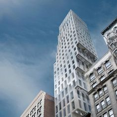 """NOTES: Rem Koolhaas in New York """"the tower risked being overwhelmed. Mr. Koolhaas gloried in the challenge, designing the 18 units (from the $7 million studio to the $50 million penthouse) in a form that steps out from behind, in a peek-a-boo shape that recalls his 1978 book, """"Delirious New York,"""" in which skyscrapers do a tango."""""""