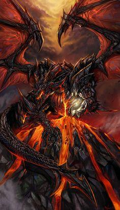 deviantART Demon Dragon Awesome World of Warcraft Artwork online Mythical Creatures Art, Mythological Creatures, Fantasy Creatures, Fantasy Kunst, Dark Fantasy Art, Dragon Medieval, Medieval Fantasy, Cool Dragons, Dragon Artwork