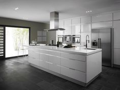 Kitchen. Accentuate White Aluminium Composite Kitchen Island White Aluminium Composite Counter Top White Aluminium Composite Wall Cabinet Light Grey Ceramic Floor Stainless Exhaust Vent Stainless Refrigerator. Aluminium Composite ( Alucom ) Material Make a Nicer Kitchen Furniture