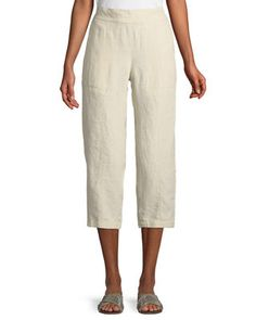Eileen Fisher Organic Linen Pull-On Cropped Pants, Petite Wide Leg Linen Pants, Eileen Fisher, Cropped Pants, Scoop Neck, Luxury Fashion, Plus Size, Slim, Pullover, Tank Tops