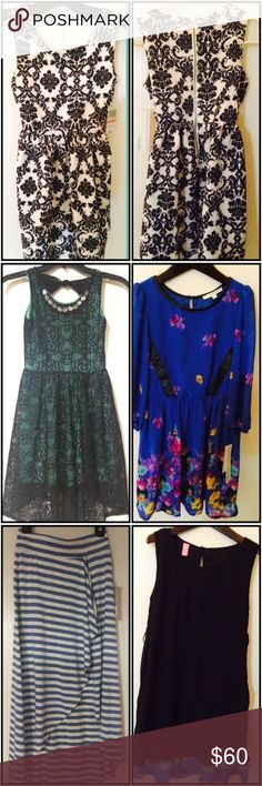 NWT Girls 6 Piece Lot sz 10 Chord & Hype dresses All Chord & Hype dresses, skirt & jeans. All sz 10 NWT Black and white flower scroll print Scuba Dress with exposed back zipper  Light Blue Denim Skinny Jeans with white floral leg & pocket embroidery.    3)Blue Chiffon Floral print dress with leather trim 3/4 sleeve  Black and Blue Pleated Chiffon layered dress ruffle hem  Julie's Closet Blue & White wrap high low Skirt   Kiddo Black & Green Overlay Lace high low Dress   All of these items…