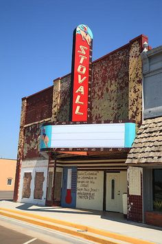 """Route 66 - The classic Stovall Theater in Sayre, Oklahoma, opened in 1950. On old Rt. 66. """"The Fine Art Photography of Frank Romeo."""""""