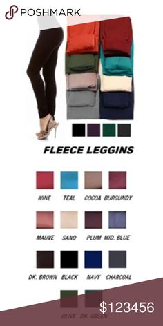 ✨COMING SOON✨Fleece Leggings. Assorted Colors.OSFM - Brand new. - Excellent quality. - super soft and stretchy. - fleece lined. - designed to add warmth and comfort without       bulkiness. - 65% polyester - 20/% cotton  - 15% spandex - multiple colors to choose from - limited quantities. - OSFM. - great with tunics, sweaters, and boots! 🚫traded AND PRICE is FIRM unless bundled. Pants Leggings