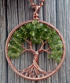 Copper and Peridot Tree of Life Pendant by ethora on Etsy
