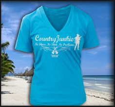 Beachy Chiller Fashion Fit V-Neck Turquoise at Cowgirl Blondie's Dumb Blonde Boutique