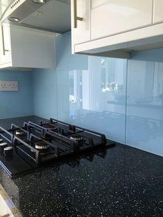Light blue kitchen glass splashback supplied and fitted by Shepway Glass. Light Blue Kitchens, Glass Splashbacks, Glass Kitchen, Color Splash, Clear Glass, Kitchen Ideas, Kitchen Appliances, Table, Furniture