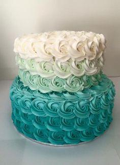 sugar | Gallery ombre buttercream rosette cake in tiffany blue