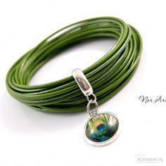 Bransoletka skórzana zielona - Rodu - Bransoletki - Biżuteria artystyczna