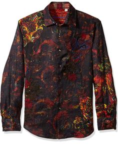 Robert Graham Men's Mystical Garden: Turn it up a notch with this fiery hot textured woven. This intricately engineered woven is perfect to spice up your look. Mens Hottest Fashion, Mens Fashion, Versace Shirts, Casual Wear For Men, Robert Graham, Casual Button Down Shirts, Mystic, Hot Guys, Shirt Dress