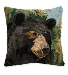 Hand-Hooked Wool Throw Pillow with Fox | PlowHearth