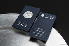 Minimalist modern navy blue card with silver foil - Silver Moon