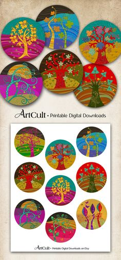 ArtCult Printable Images are great for your art and craft projects. This is a digital product. You can print these images as many times as you need. DISCOUNT COUPON CODES: http://www.etsy.com/shop/ArtCult/policy INSTANT DOWNLOAD! The files are available once payment is confirmed. An email with the download link will be sent to you . You will be able to access and download the files from your Purchases page. ITEM DESCRIPTION: Eight 2.5 inch size images. Fits standard paper size 8.5x11 inch...