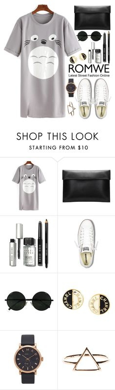 """""""Romwe"""" by oshint ❤ liked on Polyvore featuring Bobbi Brown Cosmetics, Converse, Chanel, Marc Jacobs, awesome, dress, romwe, fabulous and grey"""