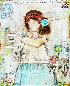 Modern Girl/Vintage Soul (Christy Tomlinson SHE ART girl with pin-tucked top. Mixed Media Canvas, Mixed Media Collage, Collage Art, Vintage Soul, Vintage Heart, Art Journal Techniques, Art Journal Pages, Art Journals, Art Journal Inspiration