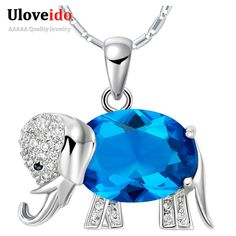 15% de descuento de Moda Elefantes Colgante Collar Azul/Rojo/Púrpura de Plata Romántica de Regalo de Navidad Niños Collar Collier Femme N741
