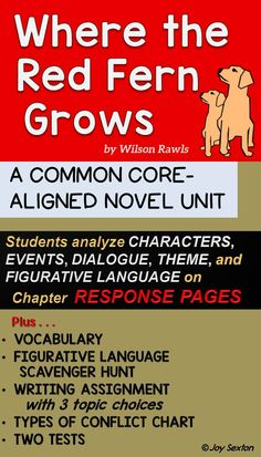 Where the Red Fern Grows - Novel Unit - Attractively designed ready-to-copy pages that will engage your students and enhance their comprehension when reading Wilson Rawls' novel. Specific Common Core skills are addressed, and a full answer key is included.