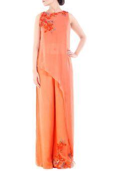 Citrus Orange Palazzo Set by Anushree Agarwal, Kurta Suits #indowestern #ethnicwear #ethnic #fusion #western #wedding #shopping #weddingseason #online #bff #bestfriend #bffswedding #cocktail #sangeet #reception #dance #elegant