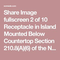 Share Image   fullscreen 2 of 10 Receptacle in Island Mounted Below Countertop  Section 210.8(A)(6) of the NEC notes that in dwelling units all 125V, single-phase, 15A and 20A receptacles in kitchens (where they are installed to serve countertop surfaces) are to have GFCI protection. Receptacles in this island-type countertop must be GFCI protected and meet countertop spacing requirements outlined in the Code. The spacing rule calls for the receptacles to be located not more than 12 in…