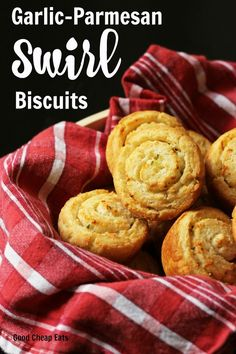 Garlic-Parmesan Swirl Biscuits | Good Cheap Eats - Dress up your bread basket with these simple, but elegant Garlic-Parmesan Swirl Biscuits. Packed with flavor, they are fun to make and great to eat!