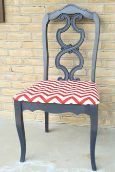 Recovered chair, would love Orange chevron