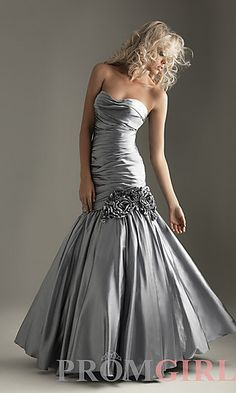 Strapless Silver Mermaid Gown, I'd wear this  as a wedding dress, grey and all. so gorgeous. but I love my backless white dresses.