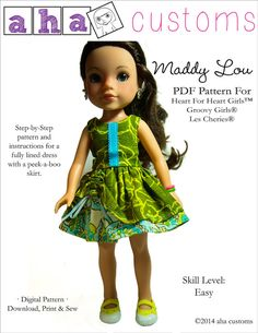 Pixie Faire Aha Customs Maddy Lou Dress Doll Clothes Pattern for Hearts For Hearts, Groovy Girls, and Les Cheries Dolls - PDF