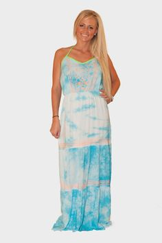 Blue tie-dye maxi with embroidery! ~$50