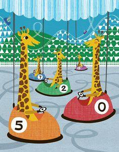 Giraffes in Bumper Cars  Lisa DeJohn Studio Shop