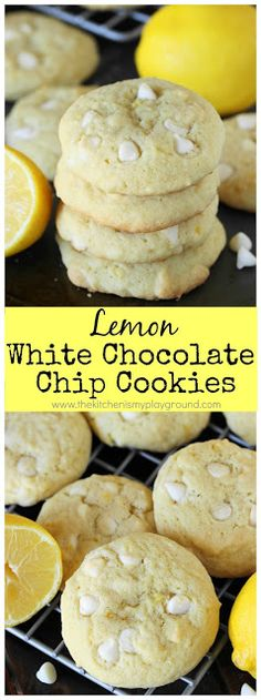 Lemon White Chocolate Chip Cookies ~ a tasty lemon-laced twist to your typical chocolate chip cookies! #lemoncookies #chocolatechipcookies #lemonlovers www.thekitchenismyplayground.com