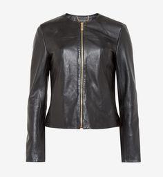 Ted Baker | Black Collarless Leather Jacket
