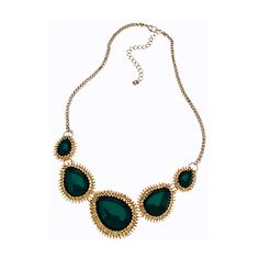 Blu Bijoux Green and Gold Teardrop Bib Necklace ($29) ❤ liked on Polyvore