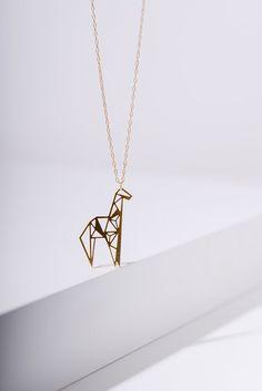 MIZYAN's geometric giraffe necklace origami giraffe by HananMass