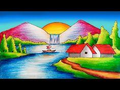 Oilpastel Drawing Easy Scenery || Scenery drawing with Oilpastel - YouTube Oil Pastel Drawings, Small Drawings, Art Drawings For Kids, Bird Drawings, Colorful Drawings, Drawing For Kids, Easy Drawings, Oil Pastel Colours, Oil Pastels