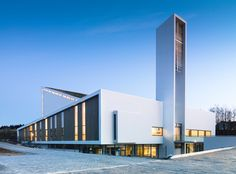 Outstanding Modern Church Interior Designs: Cool Architecture Froeyland Orstad Church Religious Retreat In Norway Architecture Baroque, Architecture Design, Sacred Architecture, Church Architecture, Religious Architecture, Amazing Architecture, Contemporary Architecture, Church Building, Building Facade
