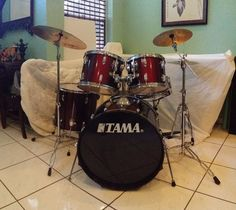 "Tama Swingstar 22x18"" Bass Drum (With pedal). Tama Swingstar 12"" Tom. Tama Swingstar 13"" Tom. Tama Swingstar 16"" Floor Tom. More Information about the Swingstar pieces Zildjian 14"" Hi-hat (top and bottom). 