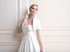 Eleanor Faux Fur Bridal Jacket, short sleeved Fur Wedding Bolero