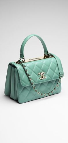 55393e2c5b26 Chanel ~ Mint Small quilted lambskin flap bag Chanel Handbags