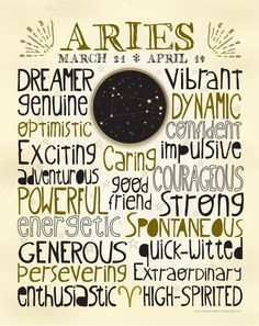 Zodiac sign Aries poster. For in depth info on Aries personality & characteristics go to http://www.buildingbeautifulsouls.com/zodiac-signs/western-zodiac/aries-star-sign-traits-personality-characteristics/ astrology lovers