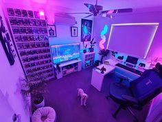 Gamer Bedroom, Neon Bedroom, Bedroom Setup, Room Ideas Bedroom, Computer Gaming Room, Gaming Room Setup, Gamer Setup, Gaming Rooms, Pc Setup