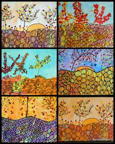 PAINTED PAPER: Branching, Curvy, Twisted Lines: Fall trees and pumpkins.  Perfect for the the story Too Many Pumpkins