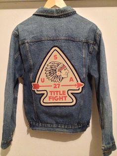 Title Fight Arrow Head Back Patch Denim Jacket via Etsy
