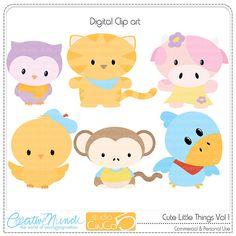 Cute Little Things - Digital Clip Art Cute Cartoon Animals, Owl, Cute Little Things, Cute Images, Patch, Felt Crafts, Doodle Art, Art Drawings, Hello Kitty