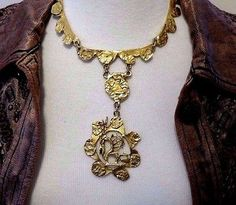 Etruscan Style Statement Pendant Necklace Gold Urban Chic Modernist